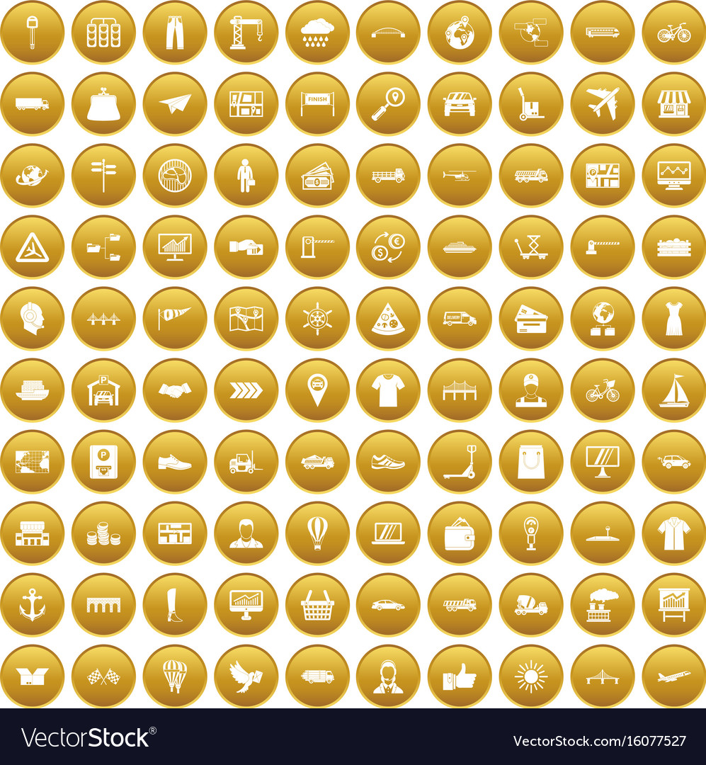 100 logistic and delivery icons set gold vector image