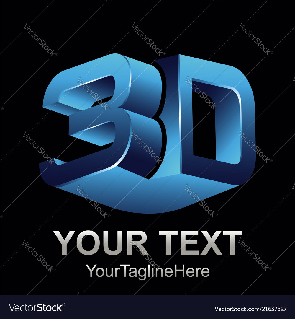 Abstract 3d text shape icon logo 3d shape