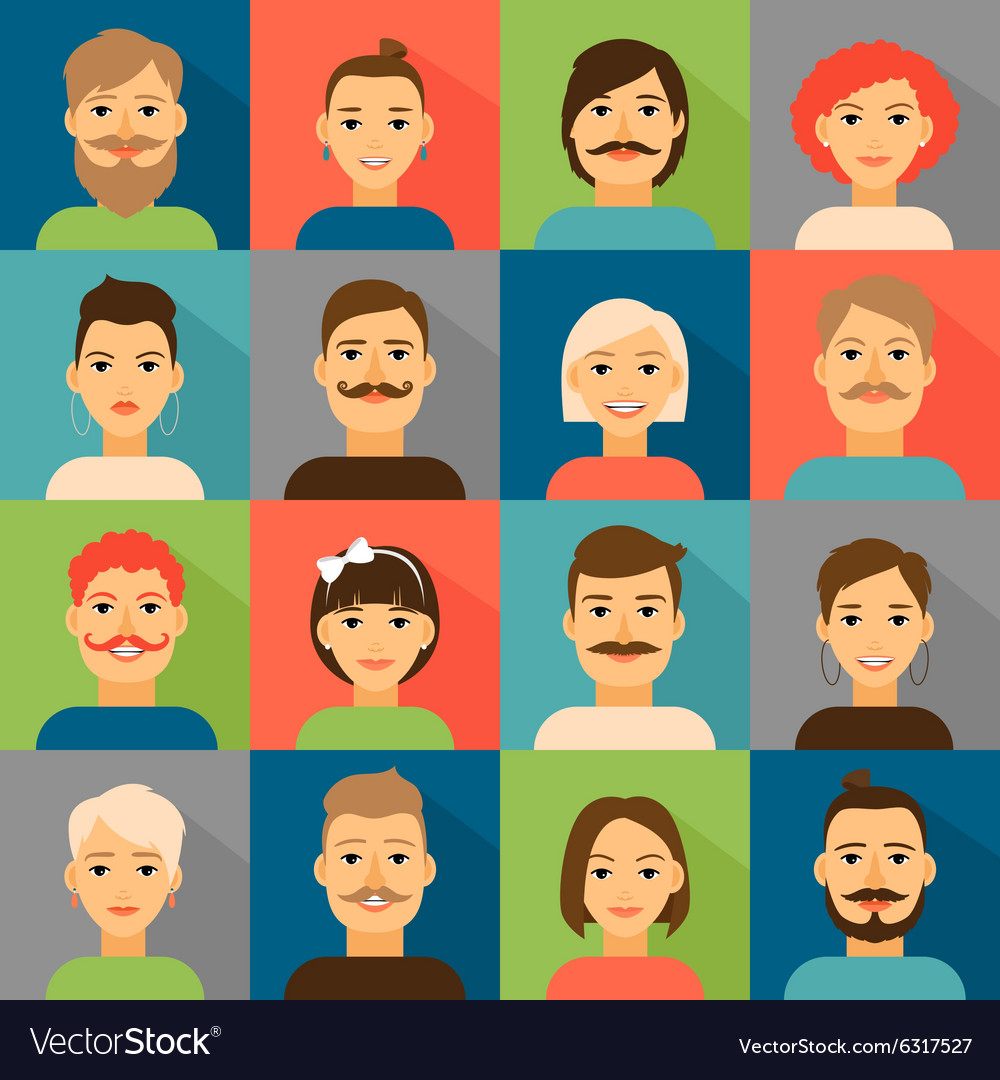 Avatar app icons User hipster face set