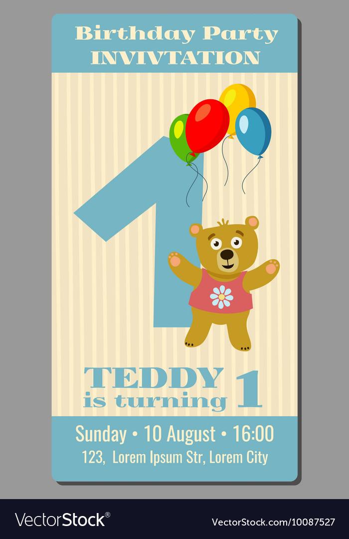Birthday party invitation card with cute bear