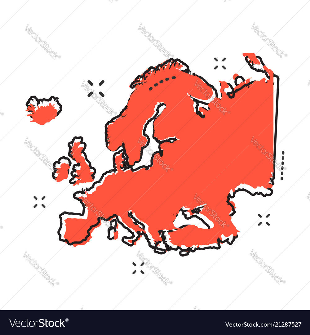 Cartoon europe map icon in comic style europe