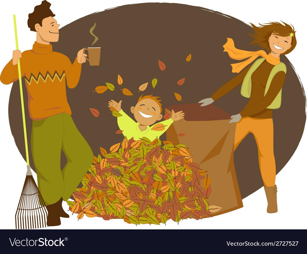 Family raking autumn leaves vector image
