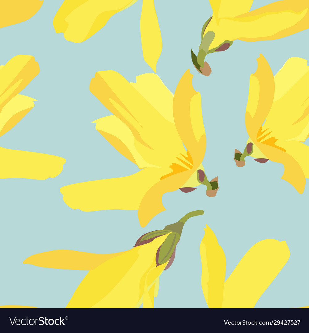 Floral Pattern With Blossoming Yellow Flowers Vector Image
