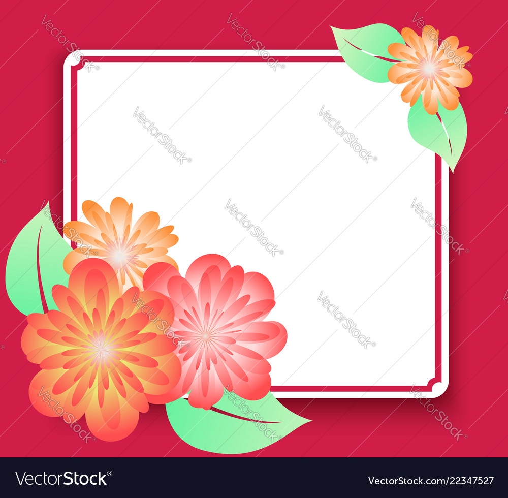 Greeting card frame with flowers template for