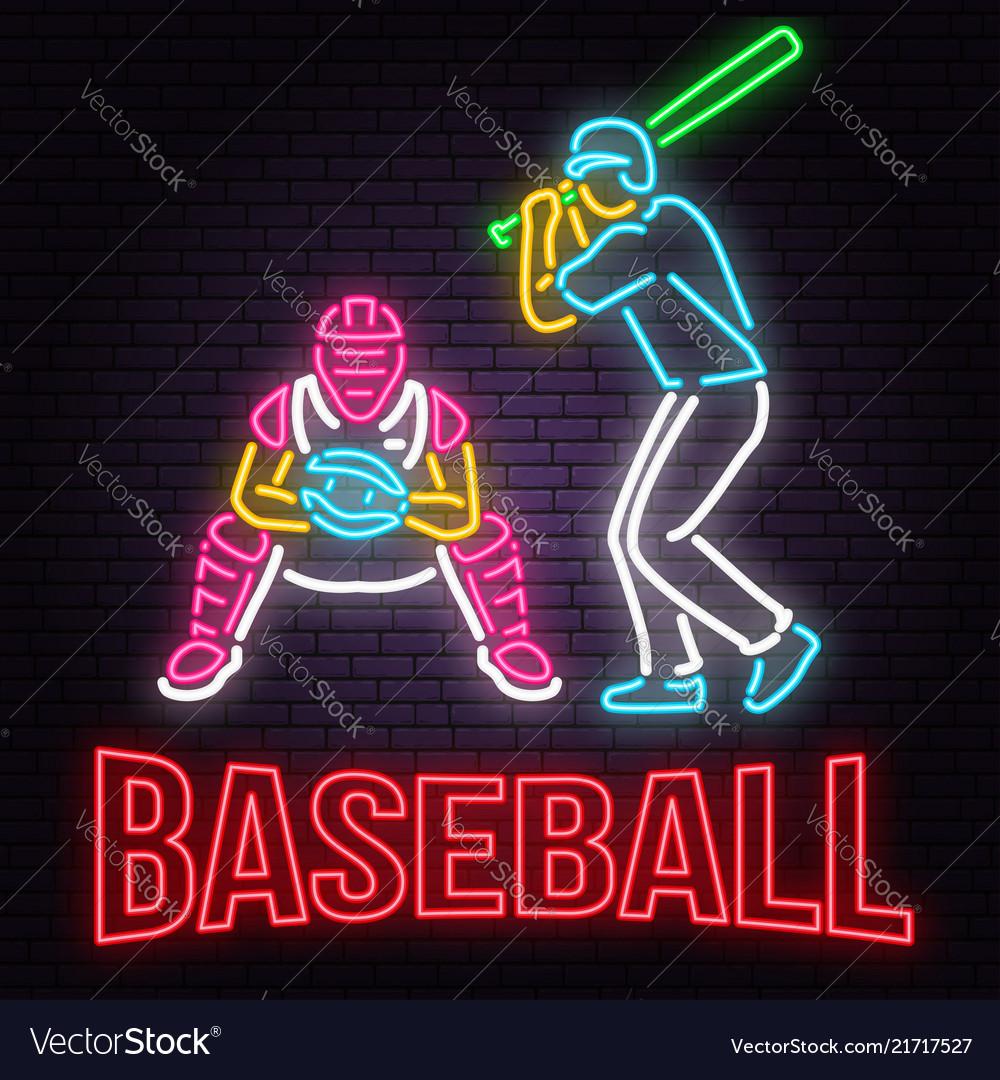 Neon baseball or softball sign on brick wall