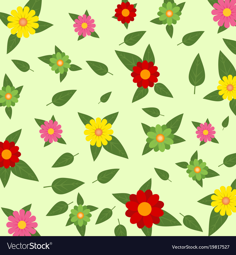 Red Pink Yellow And Green Flowers In A Spring Vector Image