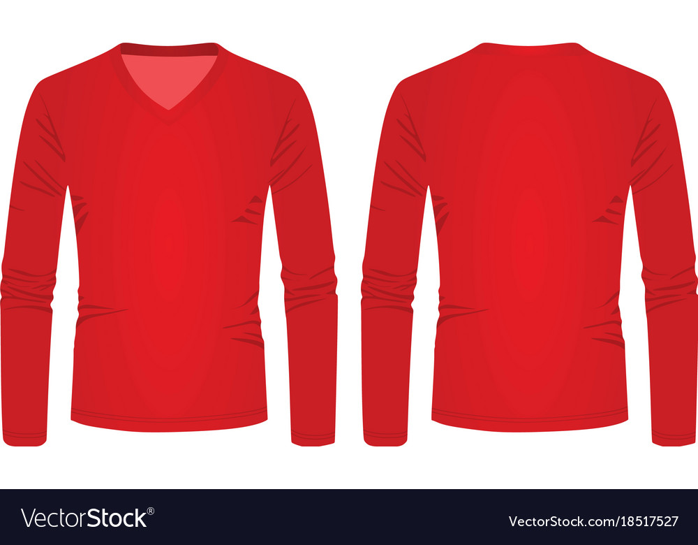 82c614b7c1f Red v neck long sleeve t shirt Royalty Free Vector Image