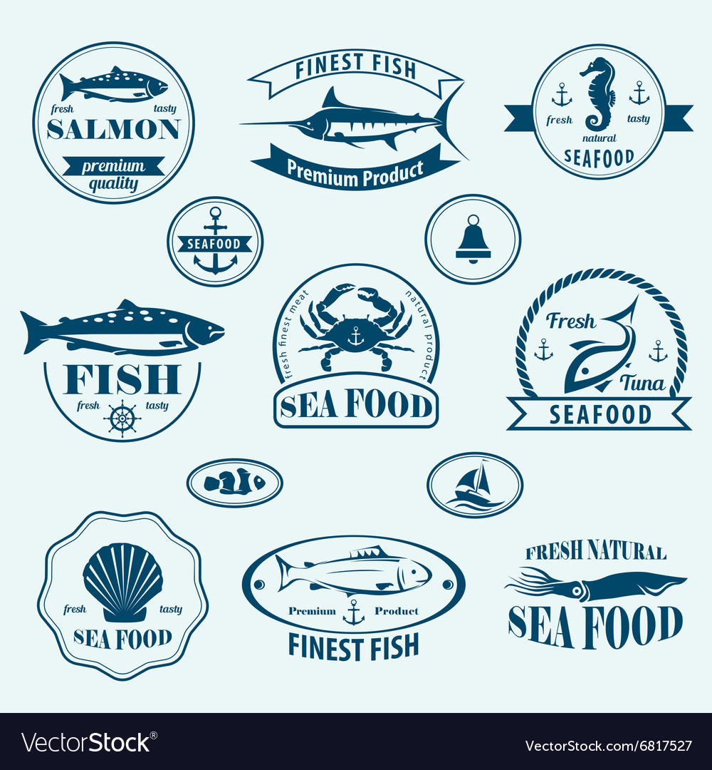 Seafood retro emblems and labels set