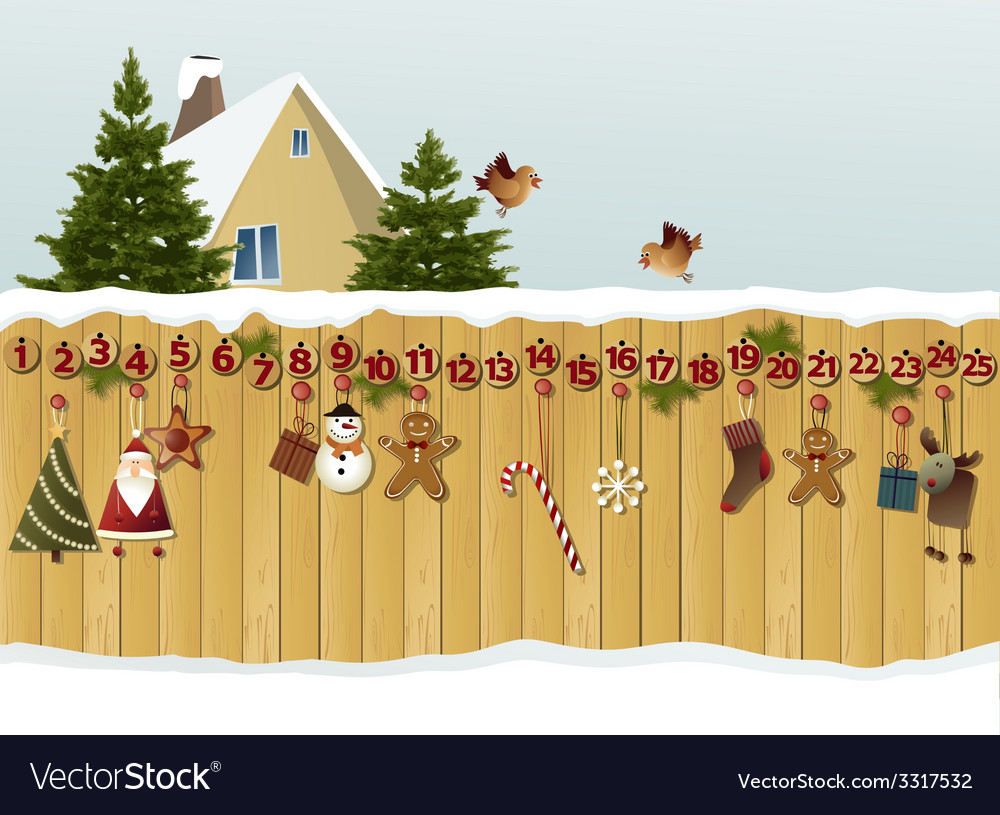 Advent calendar on fence vector image