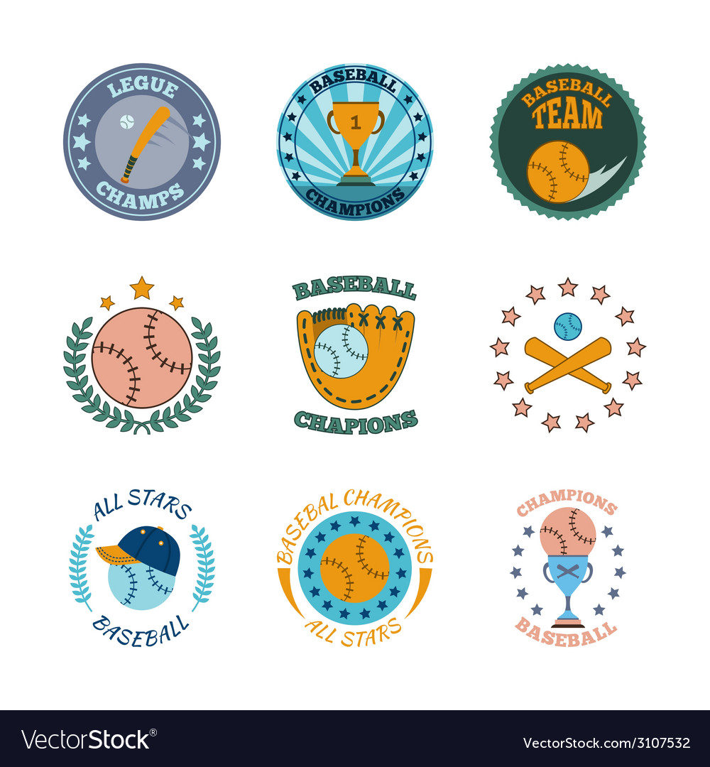 Baseball labels icons color set