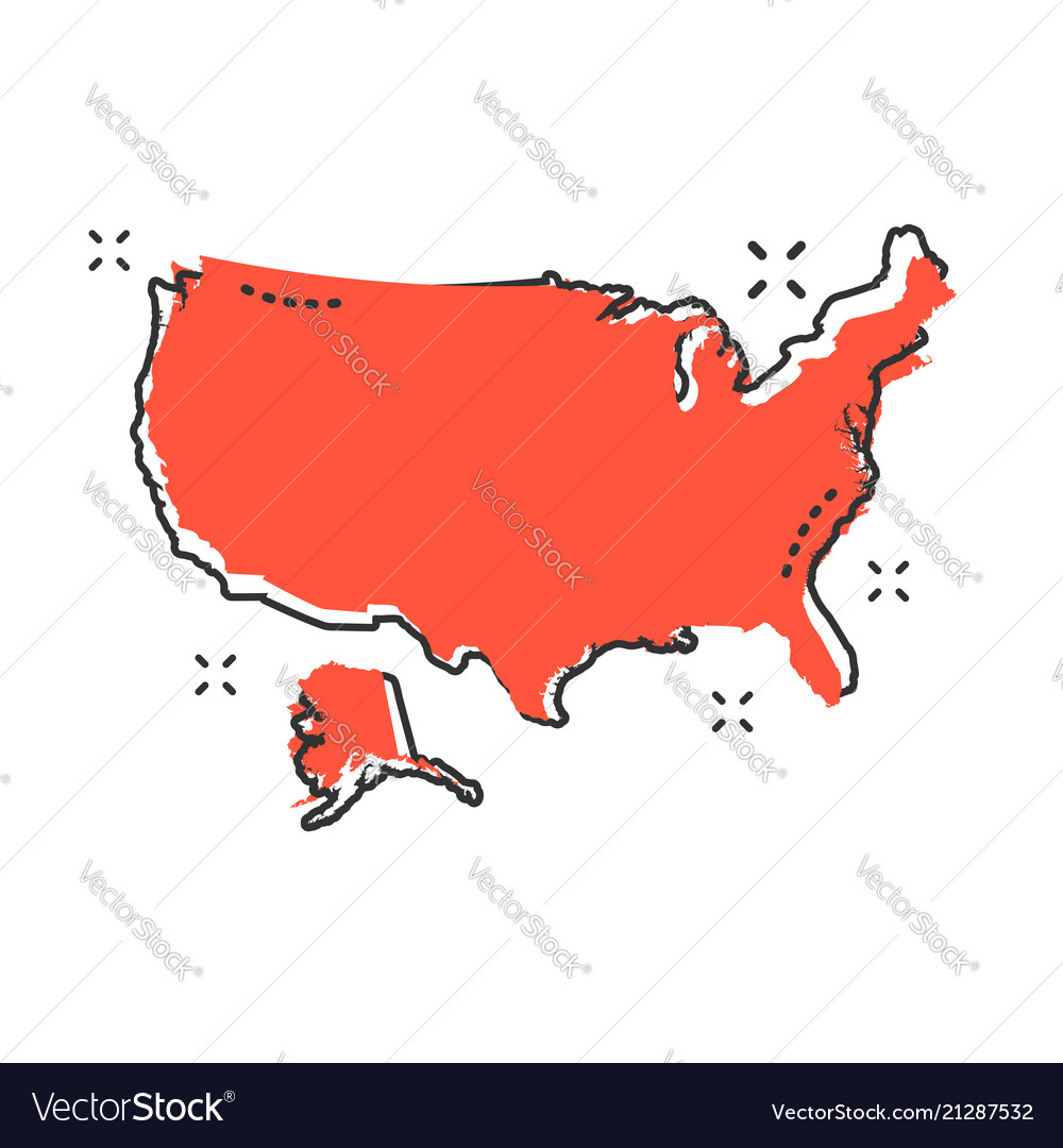 Cartoon America Map Icon In Comic Style Usa Vector Image