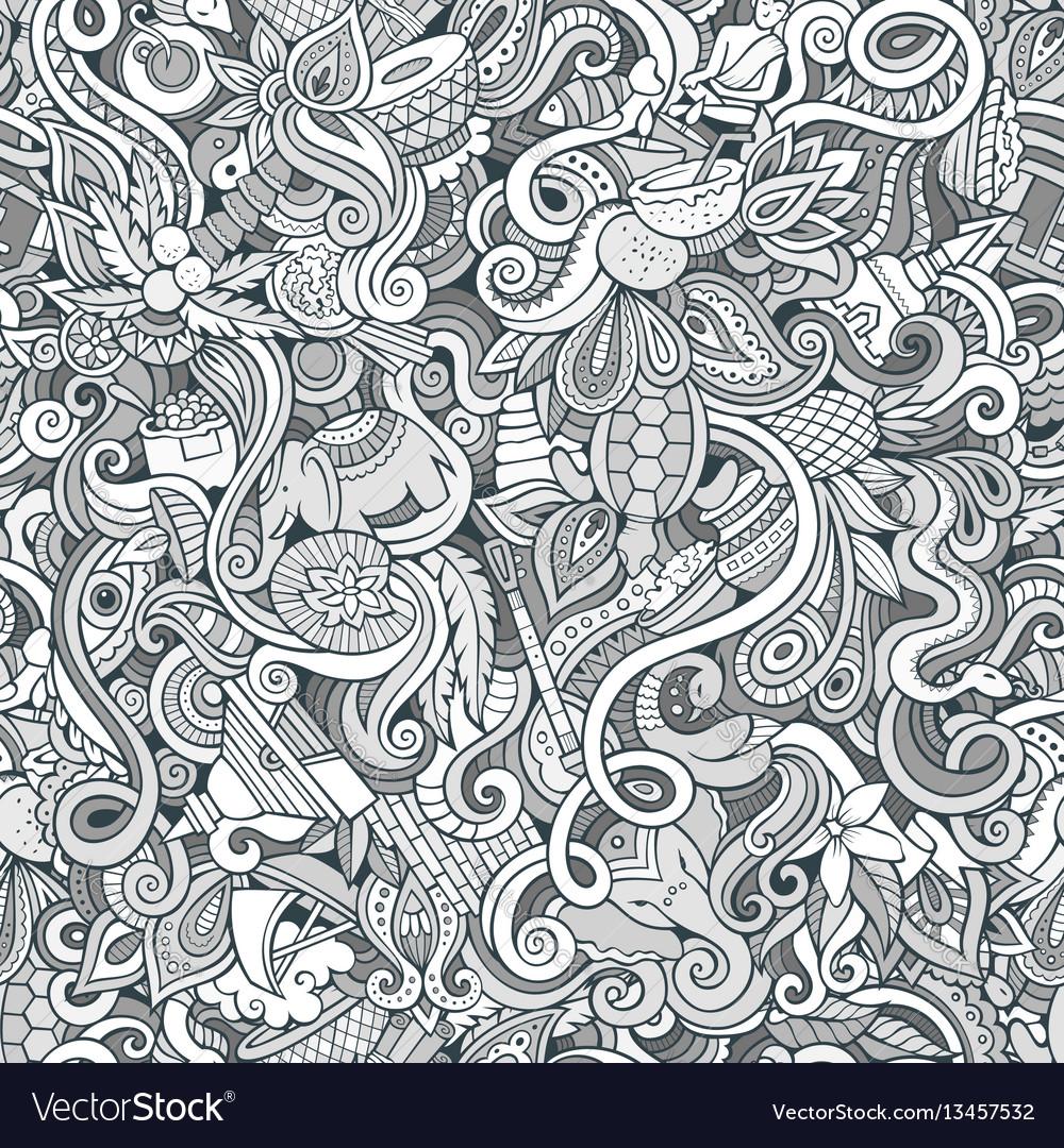 Cartoon cute doodles hand drawn indian culture