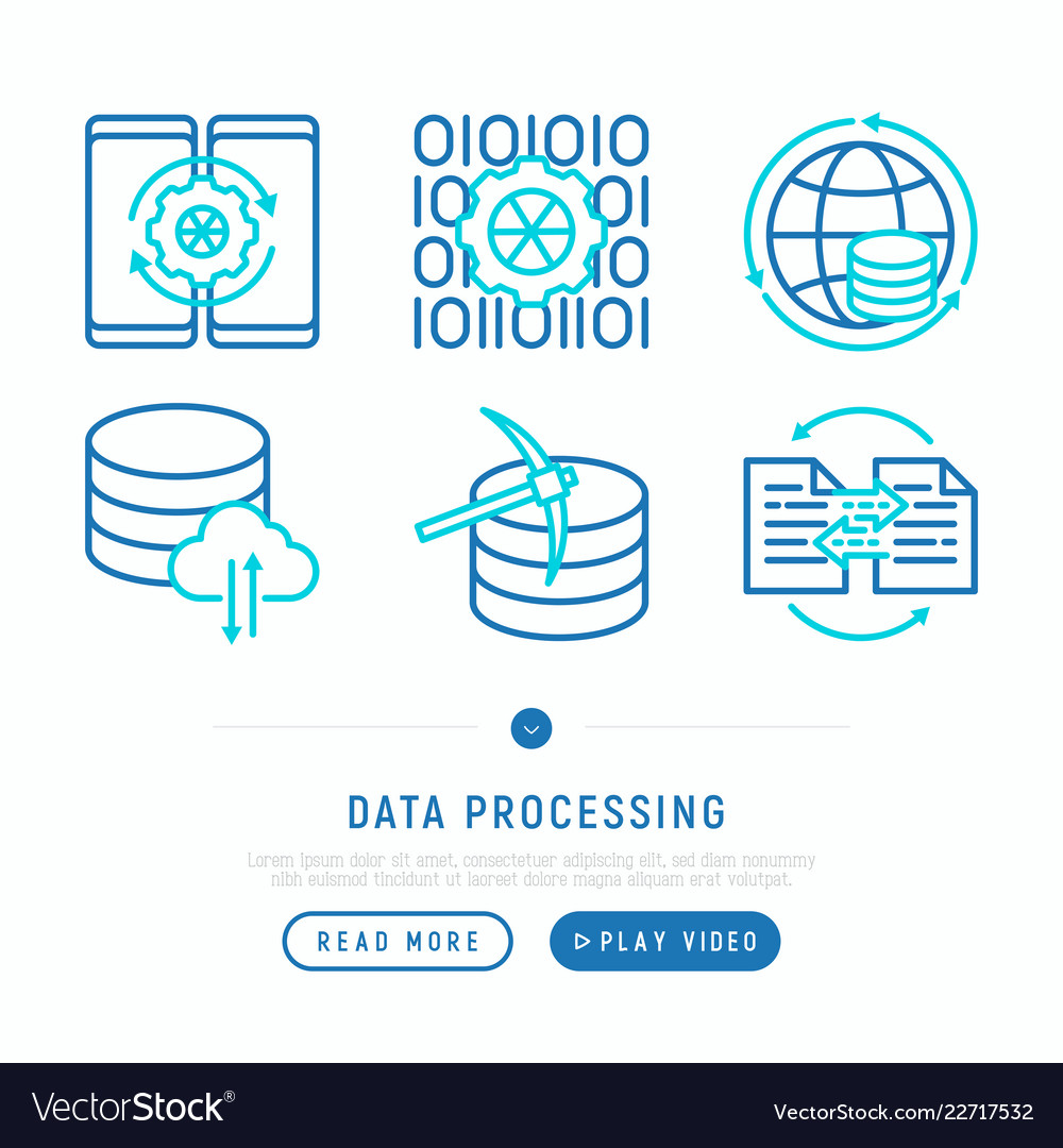 Data processing with thin line icons