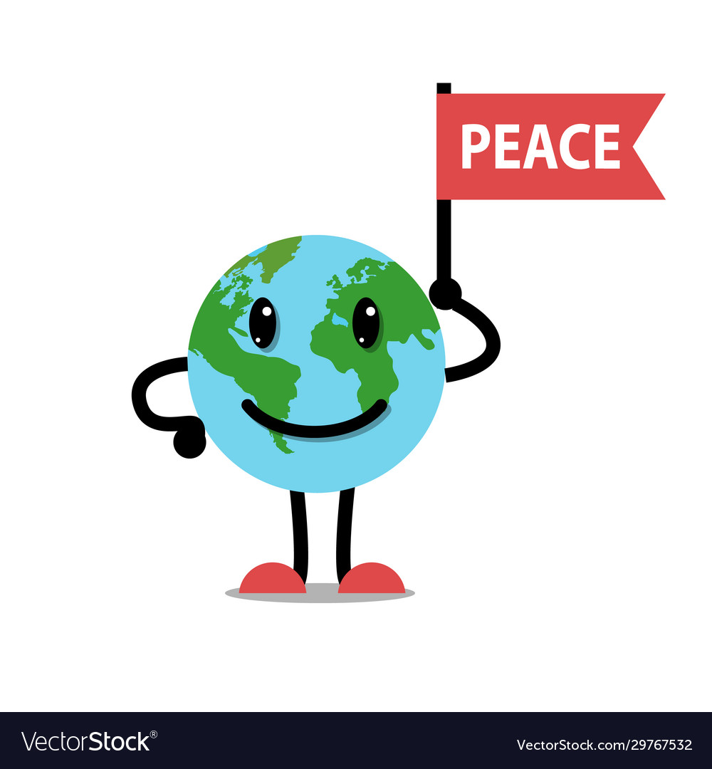 Earth planet smile and flag peace character