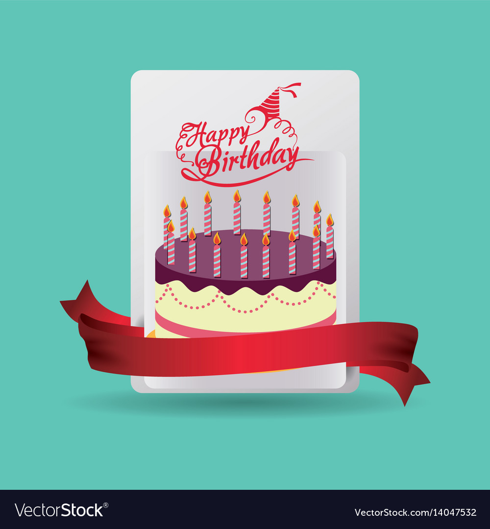 Happy birthday card cake celebration vector image