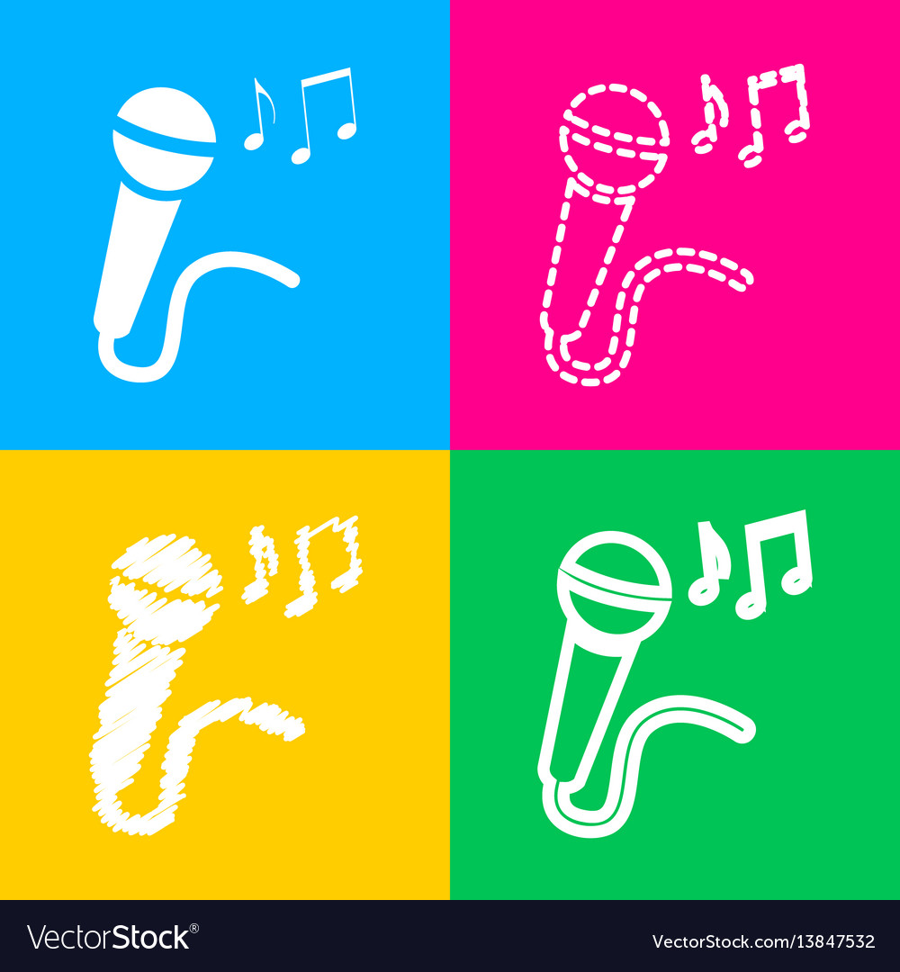 Microphone sign with music notes four styles of