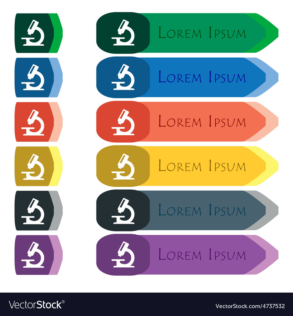 Microscope icon sign Set of colorful bright long
