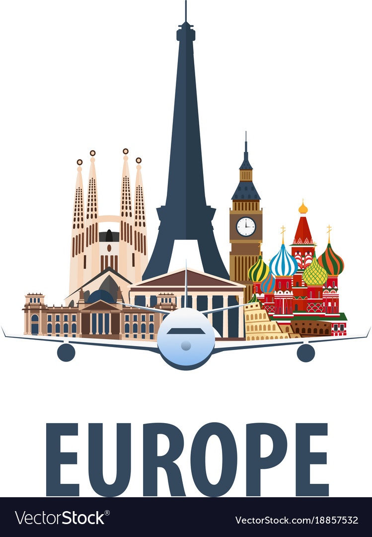 Travel emblem to europe trip to country Royalty Free Vector