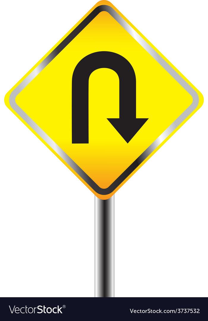 u turn road sign yellow road sign royalty free vector image rh vectorstock com road sign vector art road traffic sign vector