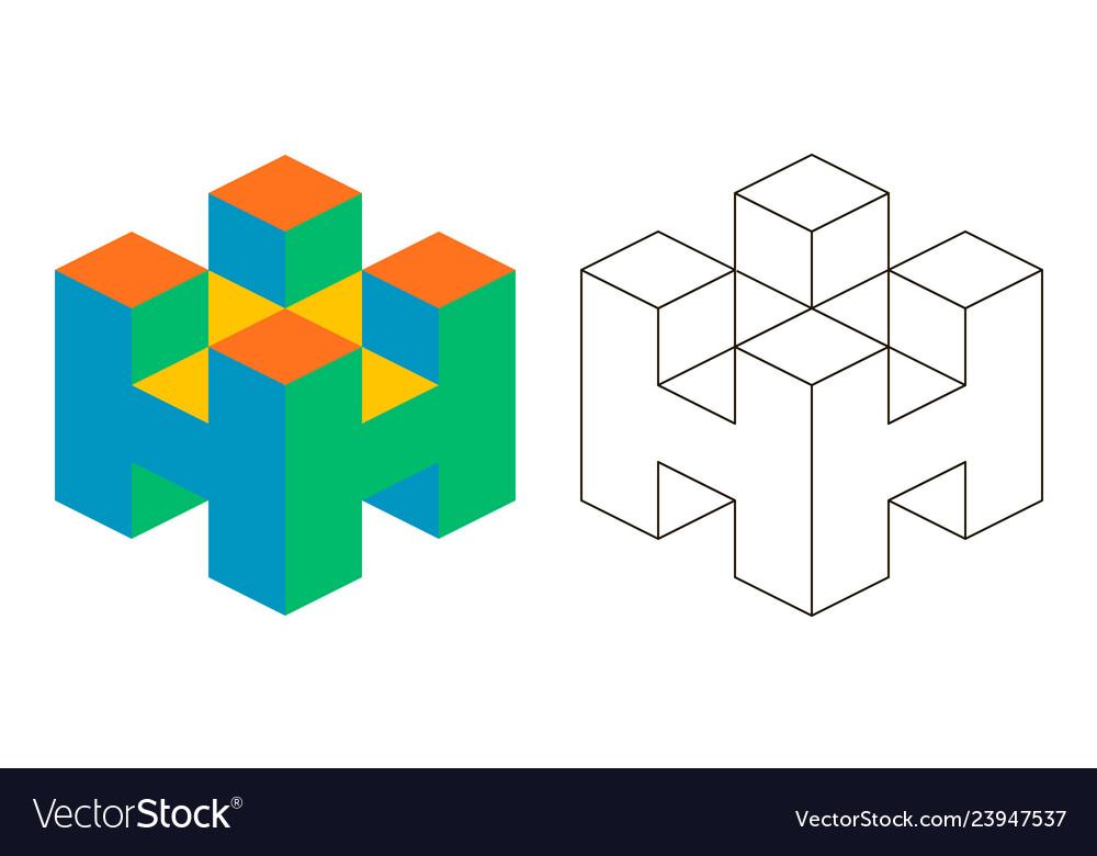 3d letter h isometry letter h advertising