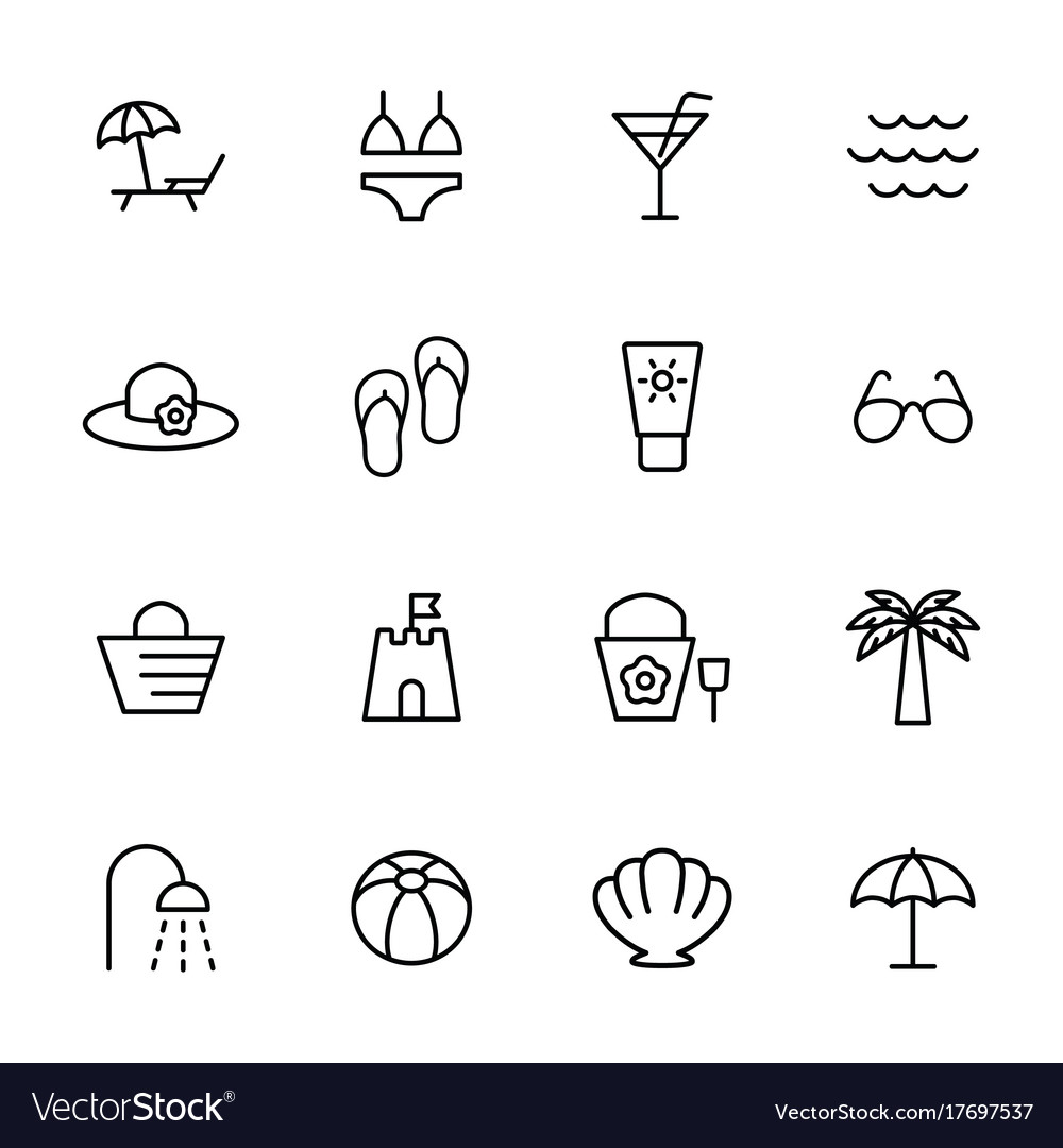 beach summer icons set on white background vector image vectorstock