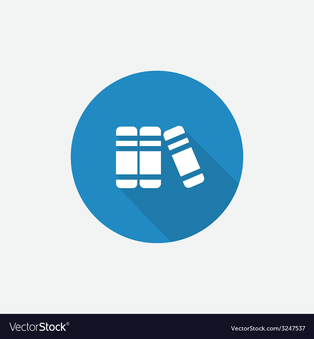 Books Flat Blue Simple Icon with long shadow