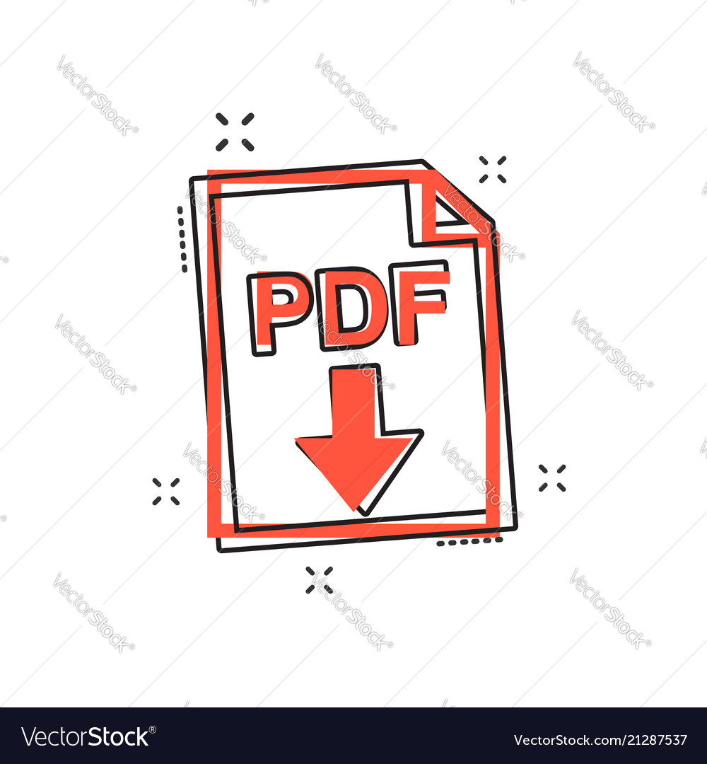 Cartoon pdf icon in comic style pdf document