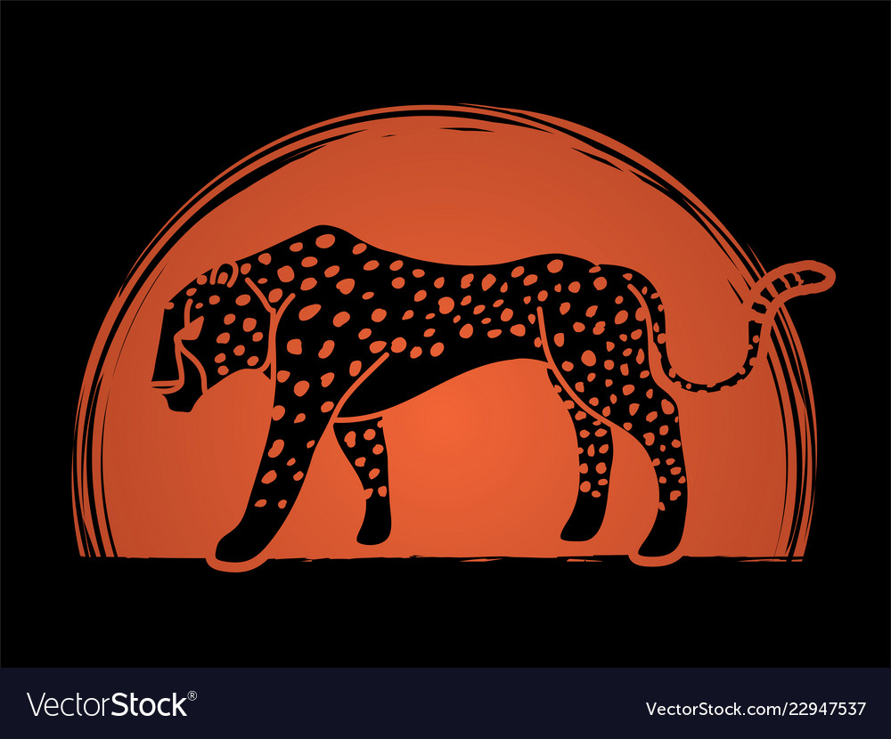 Cheetah side view tiger graphic