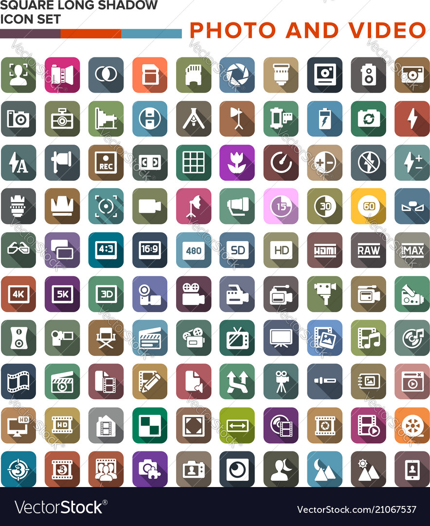 Collection of photo video icons with long shadow