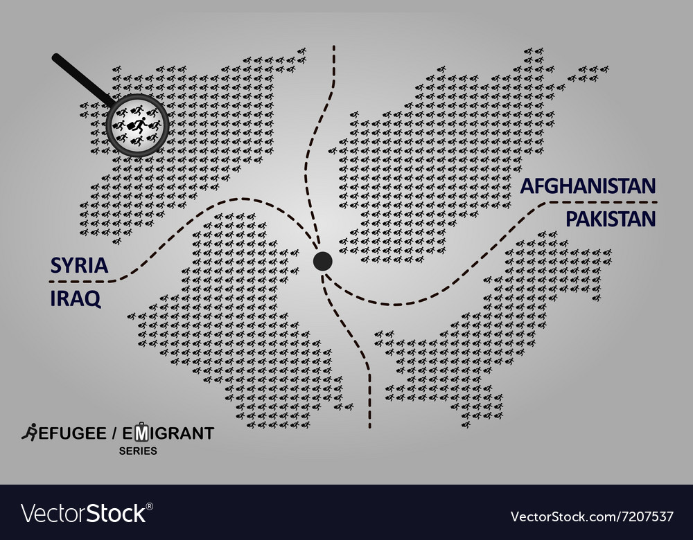 Map of refugee countries vector image