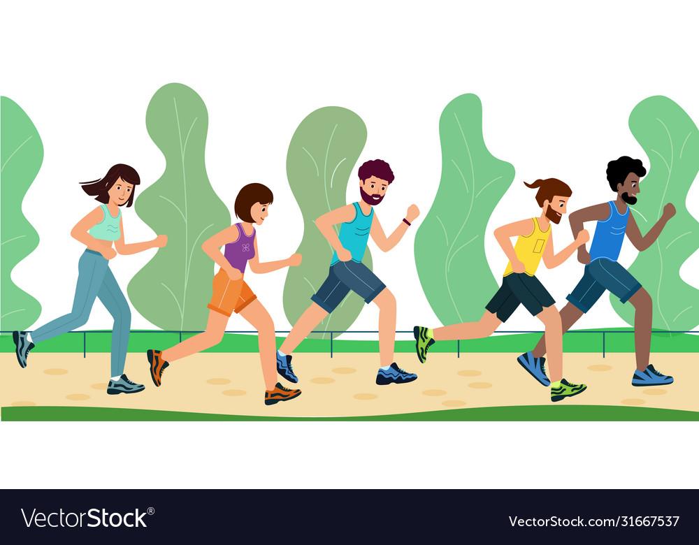 Men and women dressed in sportswear run through