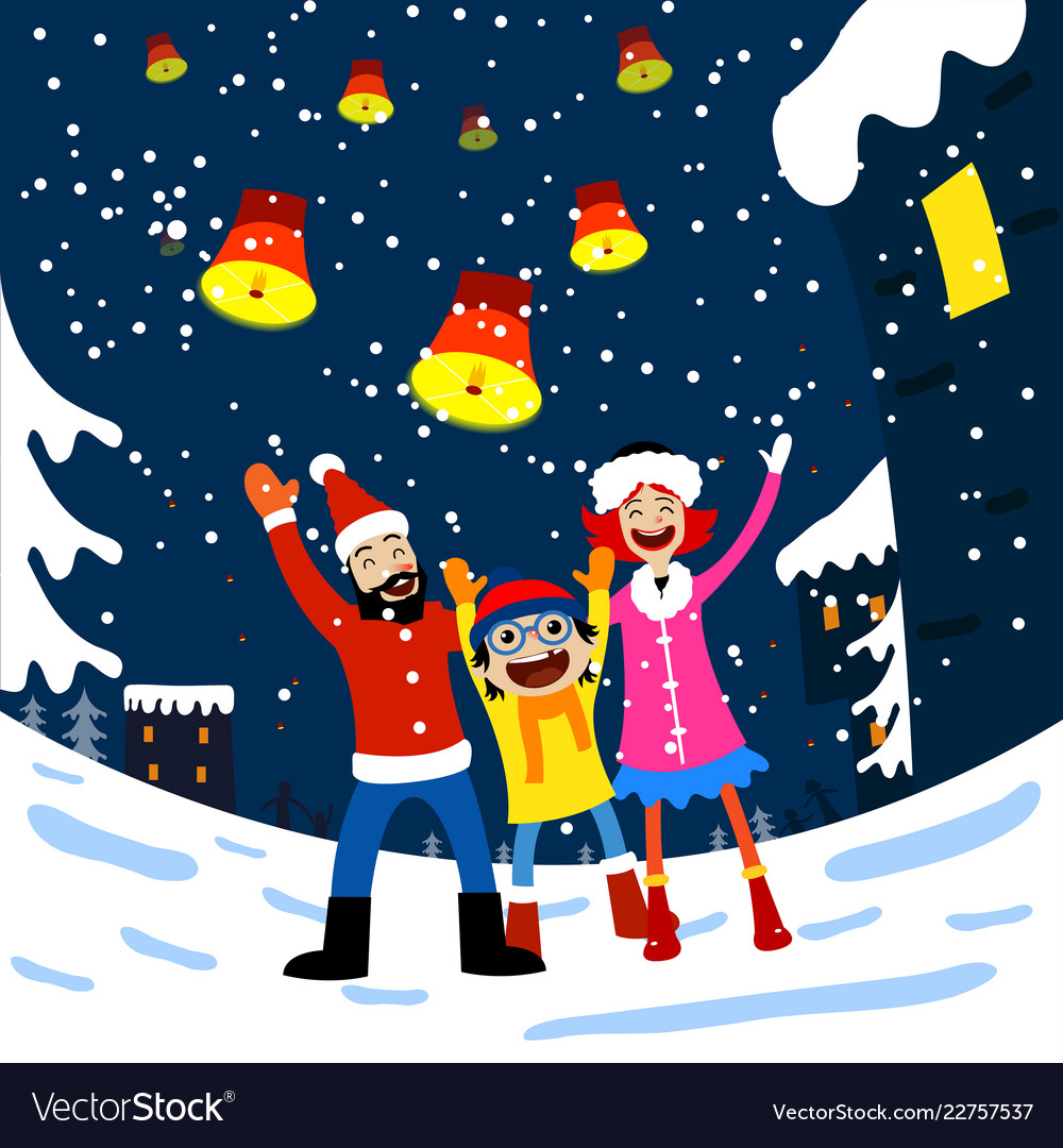 Merry christmas card with family Royalty Free Vector Image