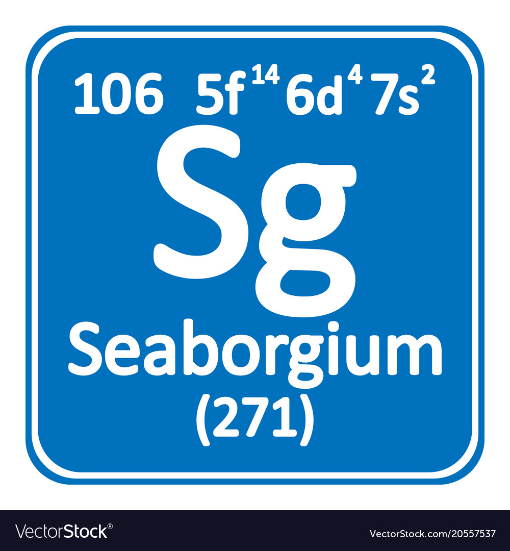 Periodic Table Element Seaborgium Icon Royalty Free Vector