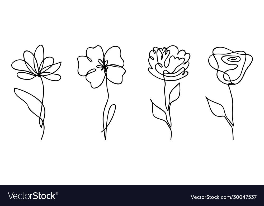 Set one line drawing abstract flowers hand