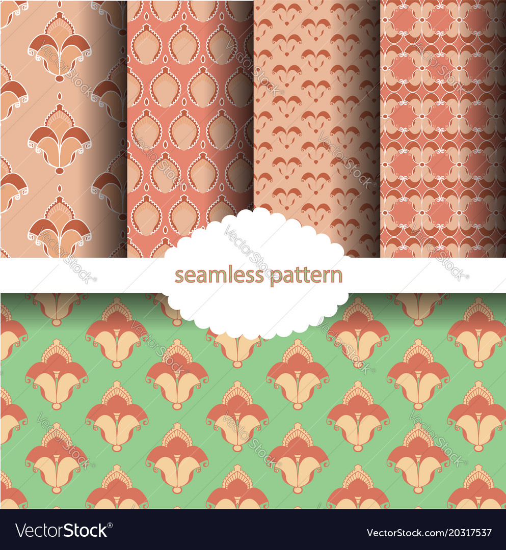 Sets red hibiscus flower pattern vector image