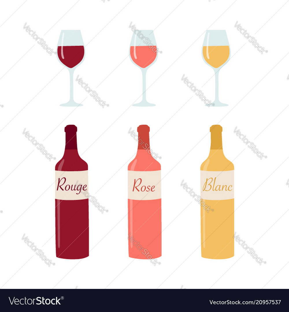 Wine bottle and glasses isolated on white