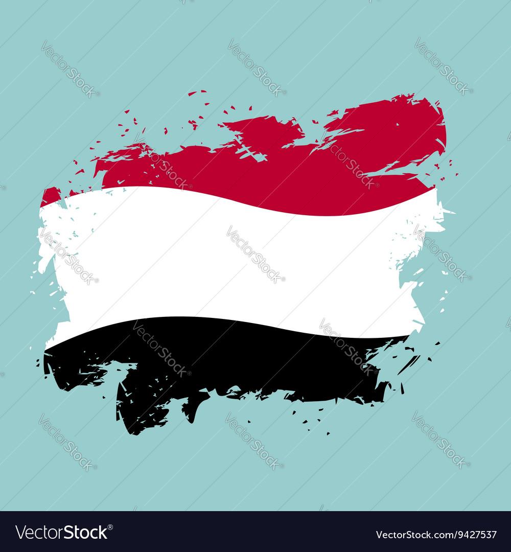 Yemen flag grunge style on blue background Brush