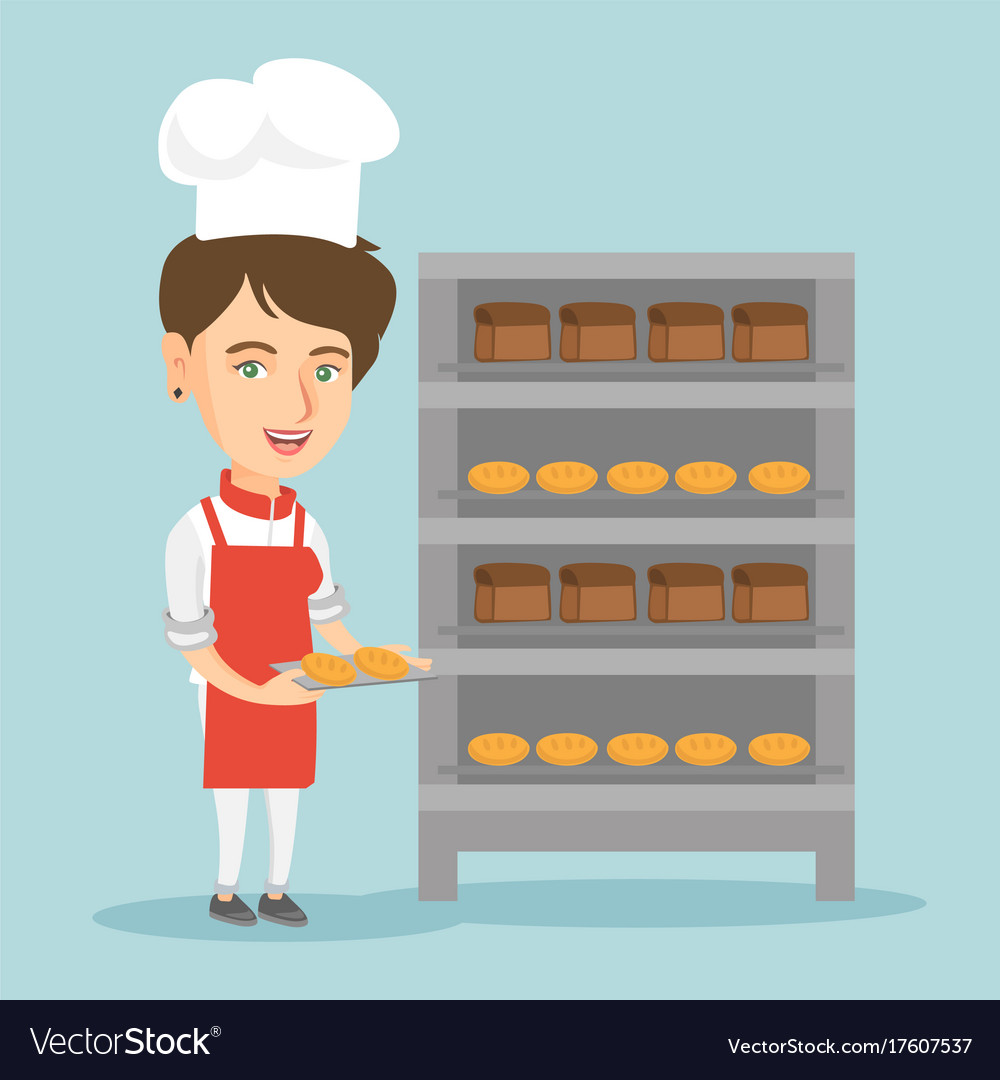 Young caucasian baker holding a tray with bread vector image
