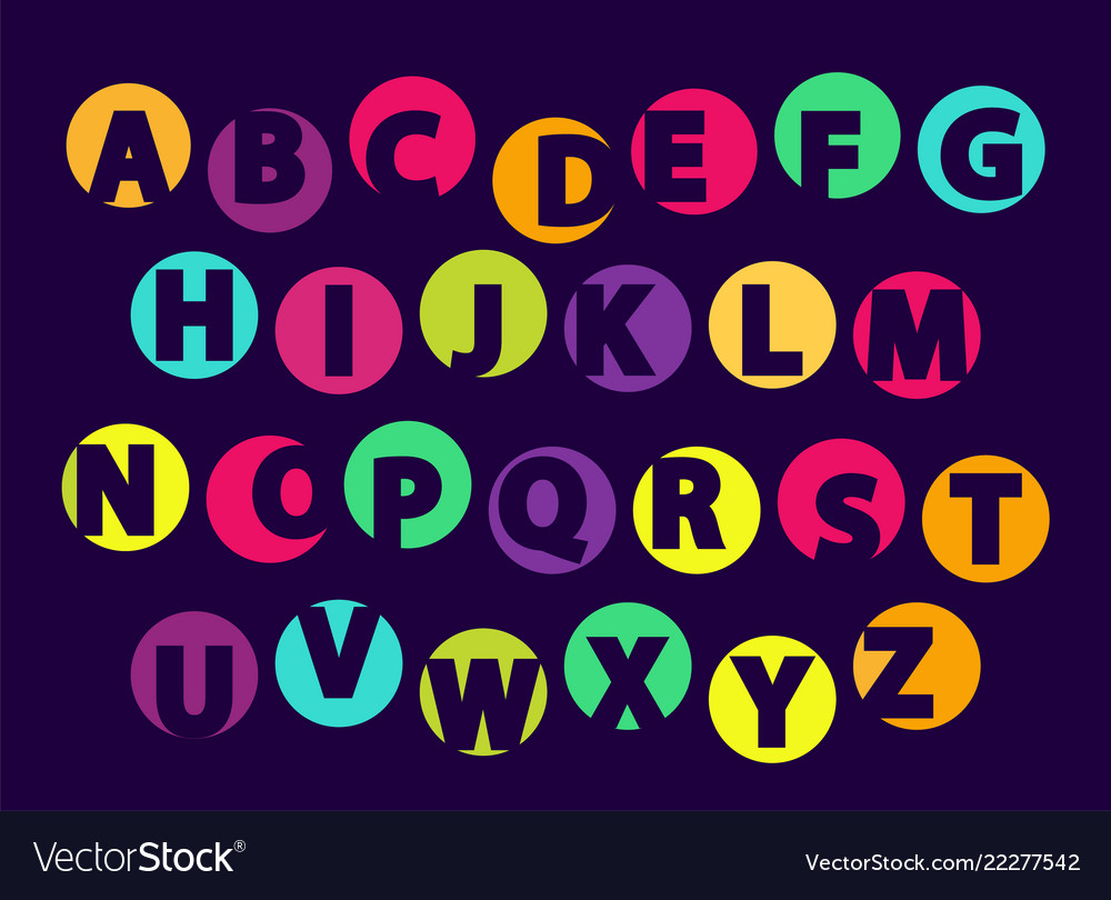 Abc letters color font sample isolated on black