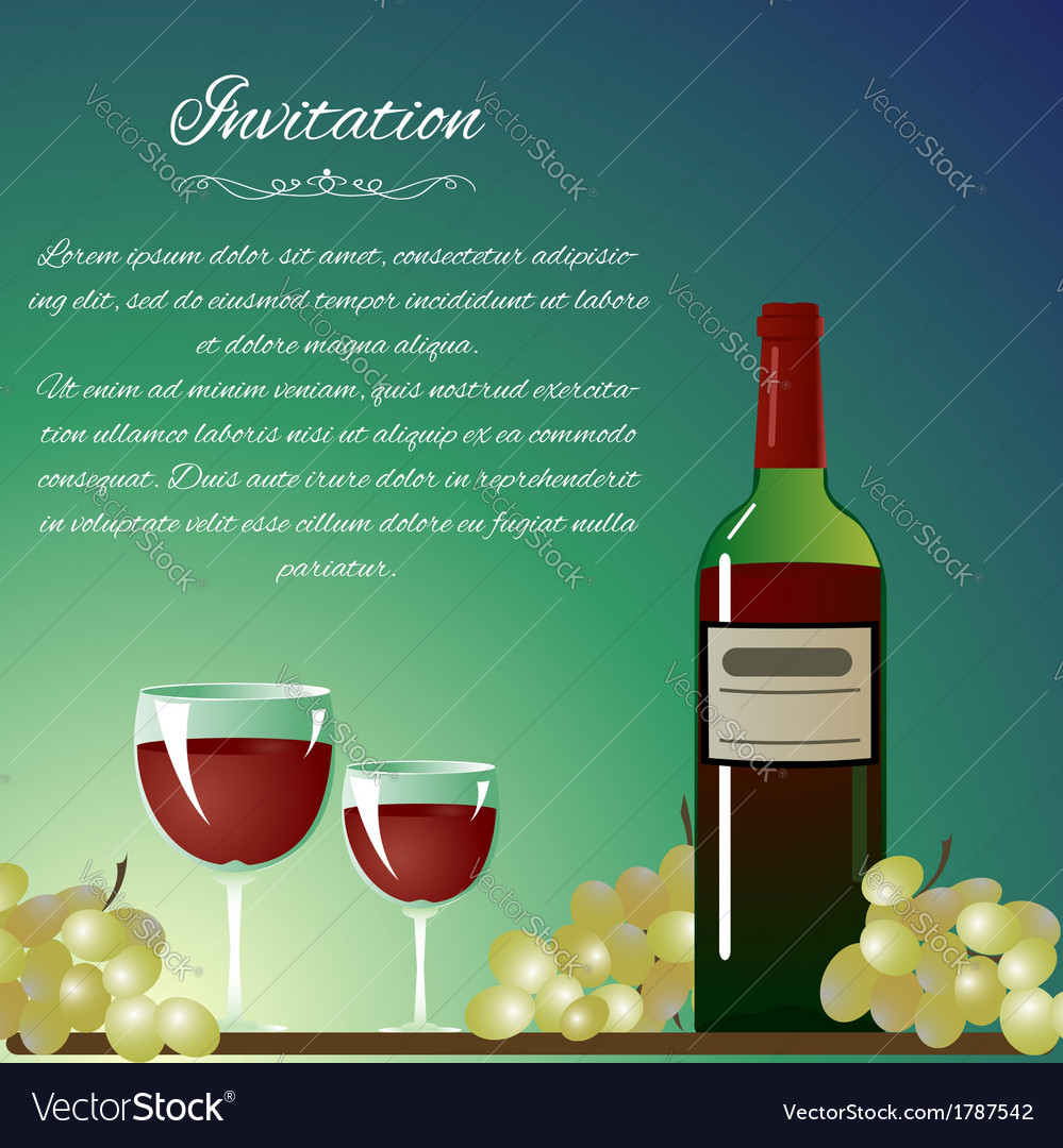 Background with bottle of wine and grapes for invi
