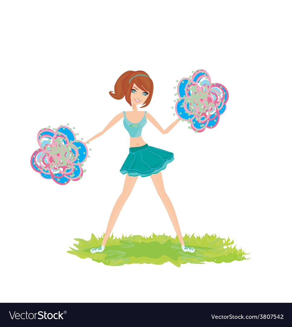 Beautiful cheerleader vector image