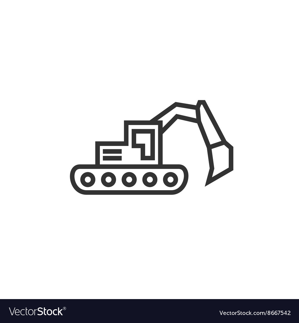 Bulldozer excavator linear style flat business
