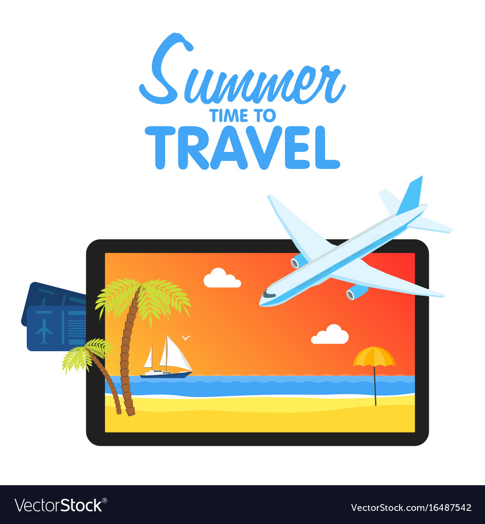Buy air tickets traveling on airplane planning a vector image