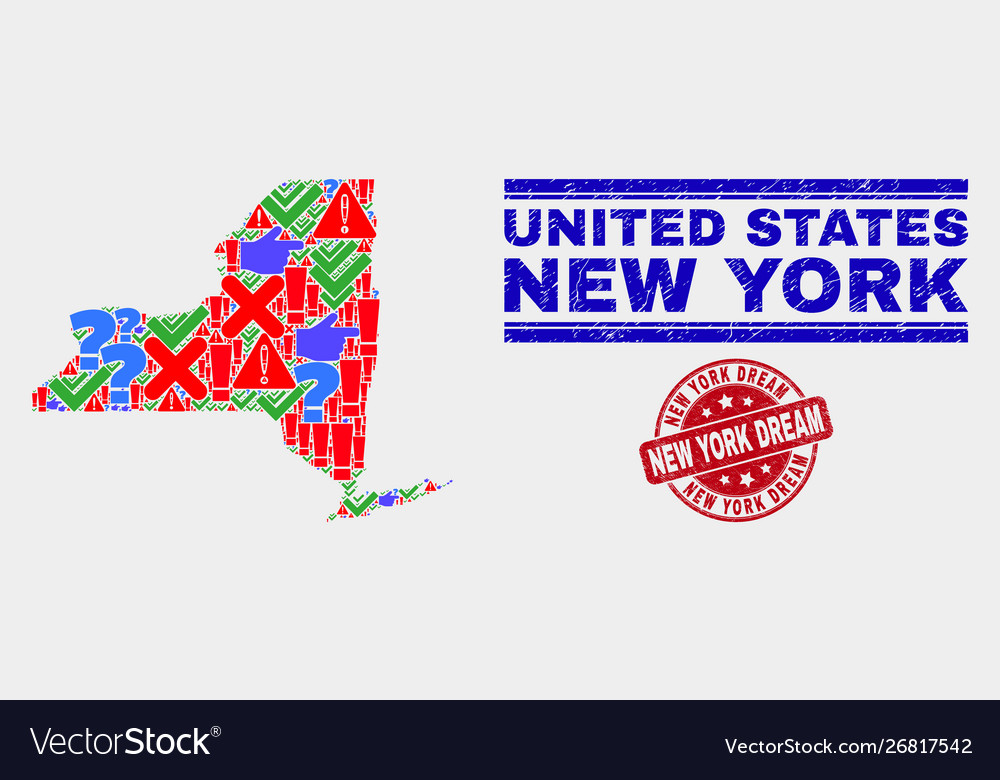 Collage new york state map symbol mosaic and