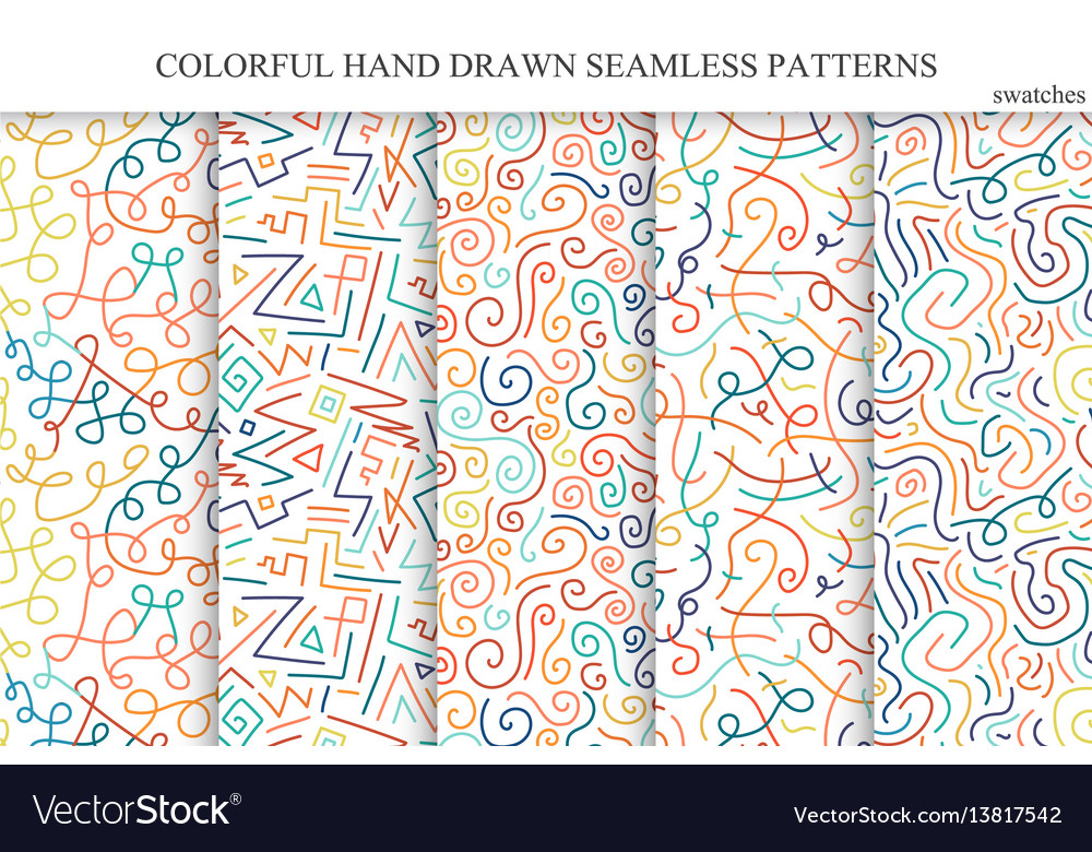Collection of colorful seamless hand drawn vector image