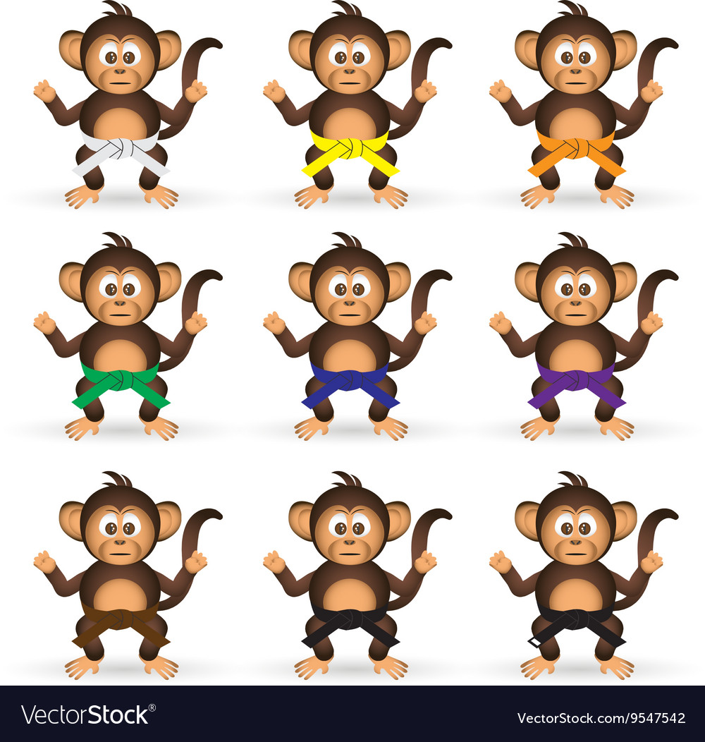 Cute chimpanzee set with karate training color