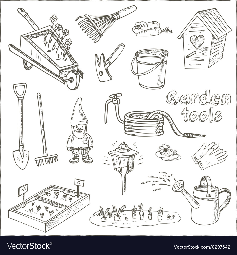 Garden Tools Doodle Set Various Equipment And