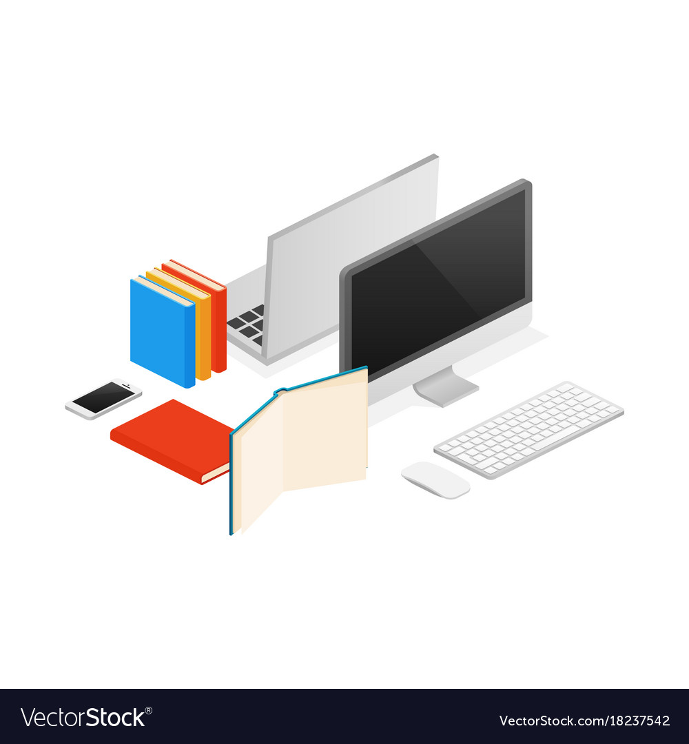 Isometric computer laptop office flat