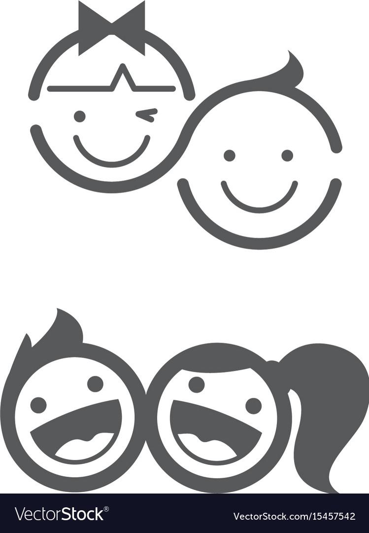 Kids logo set childhood kid logo