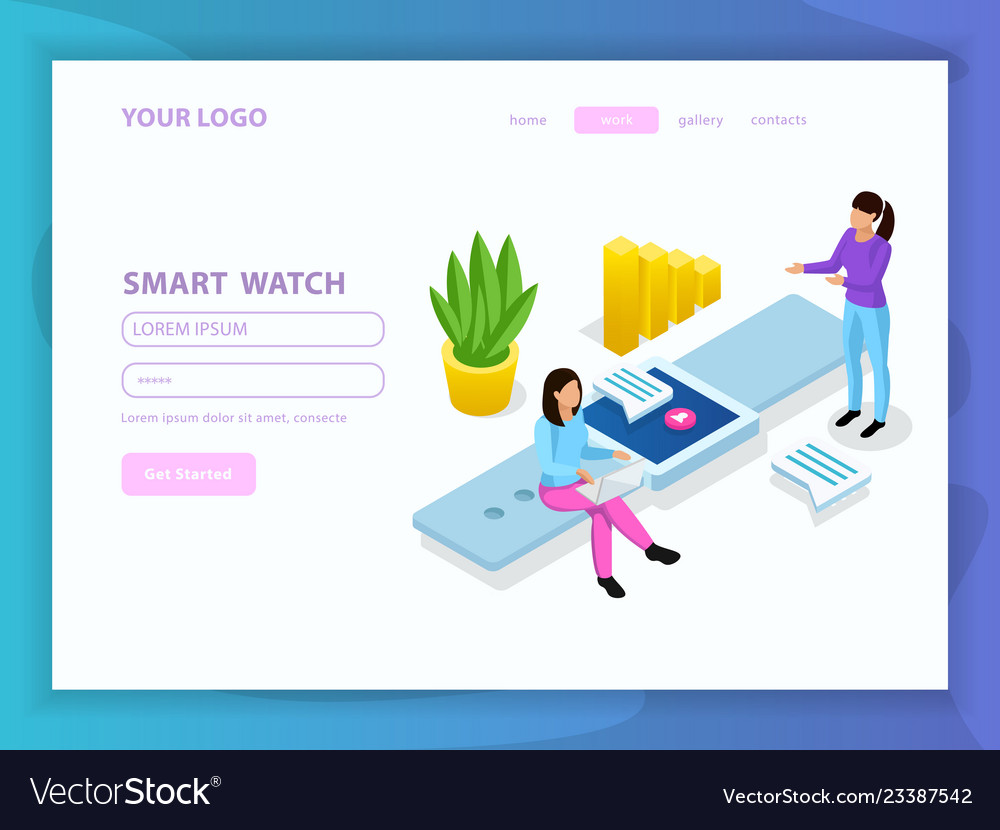 People and interfaces isometric composition